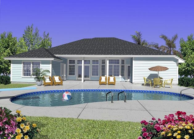 House Plan 53423 with 5 Beds, 2 Baths, 2 Car Garage Rear Elevation