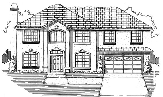House Plan 53478 with 5 Beds, 2 Baths, 2 Car Garage Front Elevation