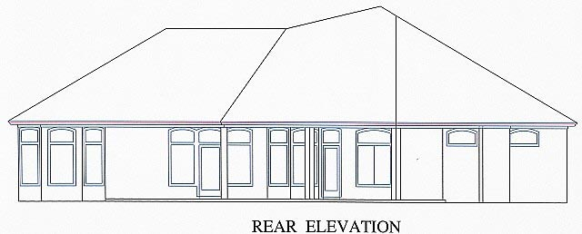 House Plan 53529 with 5 Beds, 3 Baths, 2 Car Garage Rear Elevation