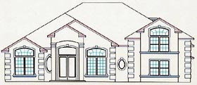 House Plan 53530 with 4 Beds, 4 Baths, 2 Car Garage Elevation