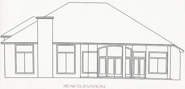 House Plan 53530 with 4 Beds, 4 Baths, 2 Car Garage Rear Elevation