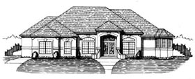 House Plan 53531 with 4 Beds, 3 Baths, 2 Car Garage Elevation