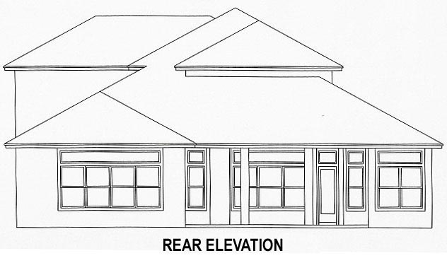 House Plan 53535 with 4 Beds, 3 Baths, 2 Car Garage Rear Elevation