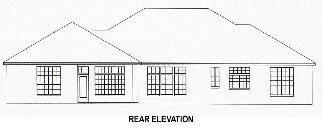 House Plan 53537 with 4 Beds, 3 Baths, 3 Car Garage Rear Elevation