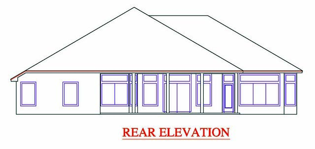 Rear Elevation of Plan 53538