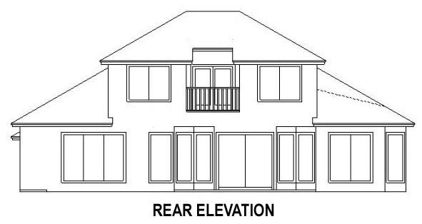 House Plan 53539 with 4 Beds, 3 Baths, 2 Car Garage Rear Elevation
