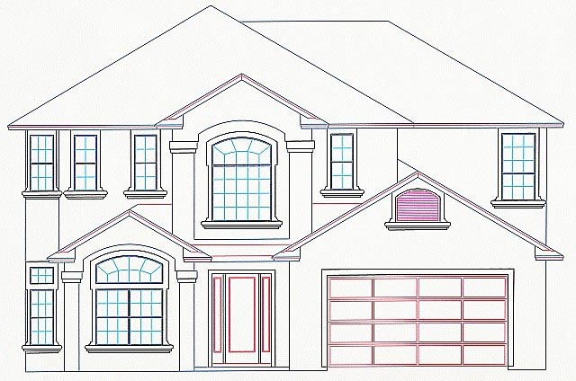 House Plan 53545 with 4 Beds, 4 Baths, 2 Car Garage Elevation