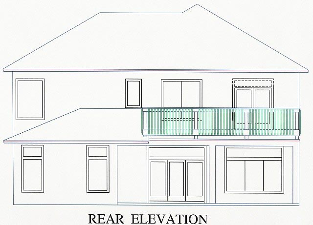 House Plan 53545 with 4 Beds, 4 Baths, 2 Car Garage Rear Elevation