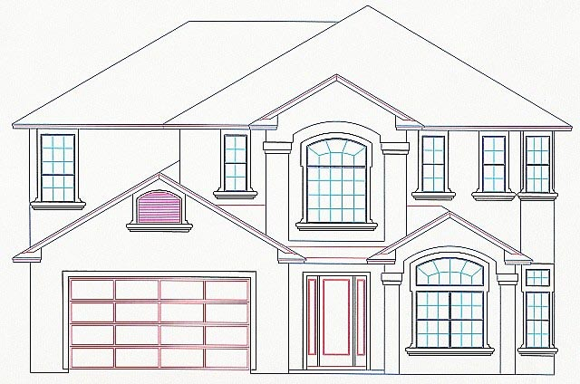House Plan 53546 with 4 Beds, 4 Baths, 2 Car Garage Elevation