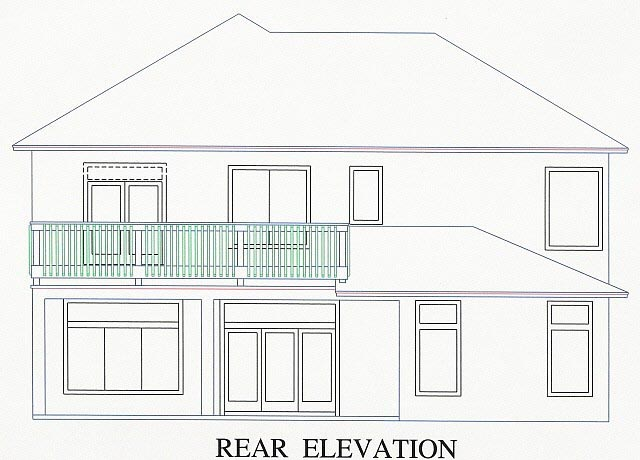 House Plan 53546 with 4 Beds, 4 Baths, 2 Car Garage Rear Elevation