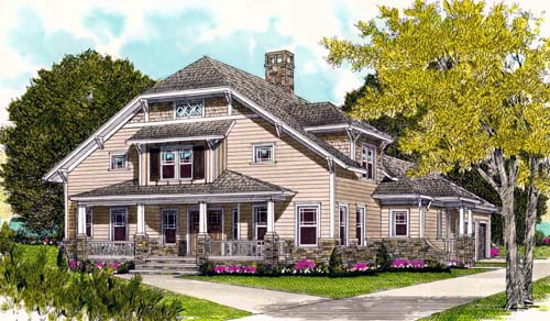 Coastal Craftsman House Plan 53703 Elevation