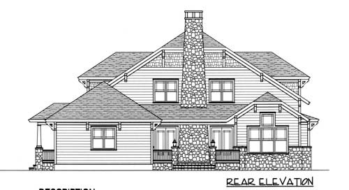 Coastal Craftsman House Plan 53703 Rear Elevation
