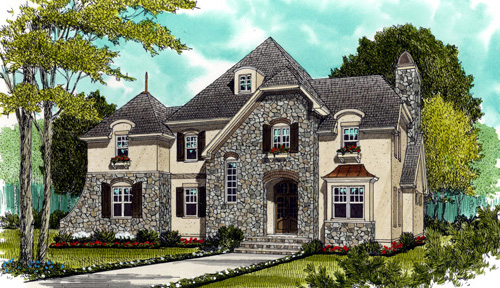 House Plan 53707 | European Style Plan with 3505 Sq Ft, 4 Bedrooms, 4 Bathrooms, 3 Car Garage Elevation