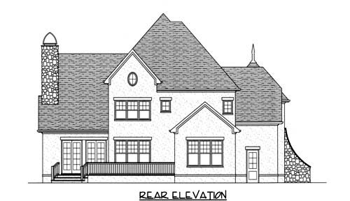 House Plan 53707 | European Style Plan with 3505 Sq Ft, 4 Bedrooms, 4 Bathrooms, 3 Car Garage Rear Elevation