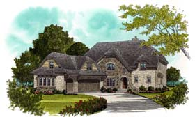 Craftsman , European House Plan 53709 with 4 Beds, 4 Baths, 3 Car Garage Elevation