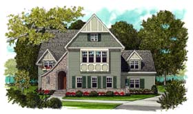 House Plan 53711 | European Tudor Style Plan with 3756 Sq Ft, 4 Bedrooms, 4 Bathrooms, 3 Car Garage Elevation