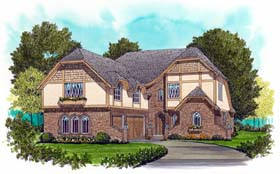 European , Tudor House Plan 53713 with 4 Beds, 4 Baths, 3 Car Garage Elevation