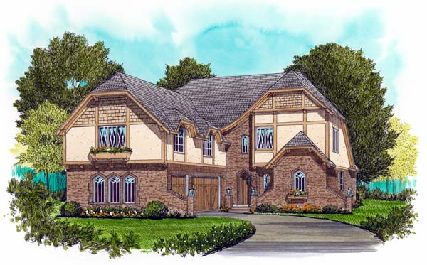 European Tudor House Plan 53713 Elevation