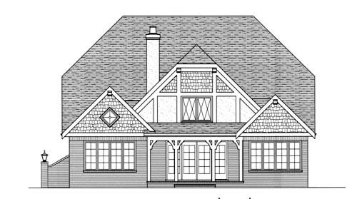 Rear Elevation of European   Tudor   House Plan 53713
