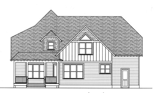 Craftsman European House Plan 53717 Rear Elevation