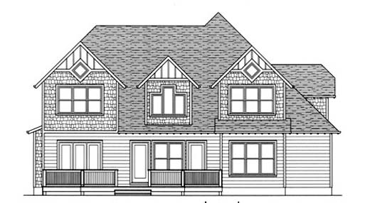 Craftsman House Plan 53718 with 4 Beds, 4 Baths, 2 Car Garage Rear Elevation