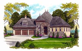 House Plan 53719 | European Style Plan with 3091 Sq Ft, 4 Bedrooms, 4 Bathrooms, 3 Car Garage Elevation