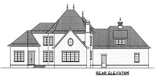 House Plan 53719 | European Style Plan with 3091 Sq Ft, 4 Bedrooms, 4 Bathrooms, 3 Car Garage Rear Elevation