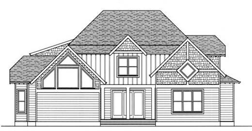Craftsman European House Plan 53720 Rear Elevation