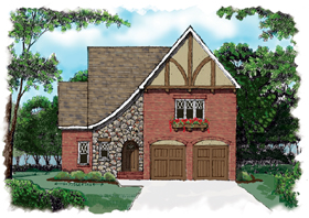 Country , Tudor House Plan 53721 with 3 Beds, 3 Baths, 2 Car Garage Elevation