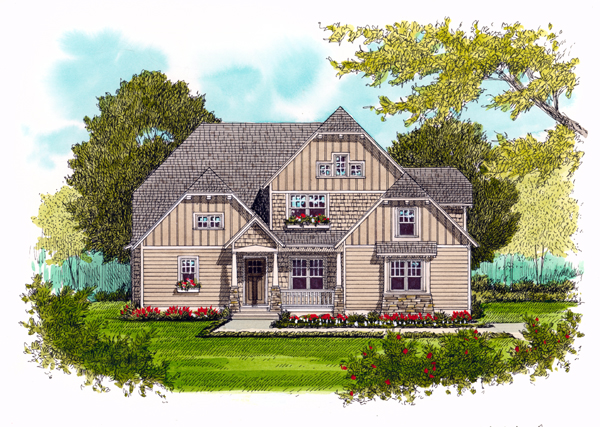 Craftsman House Plan 53723 with 4 Beds, 4 Baths, 2 Car Garage Front Elevation