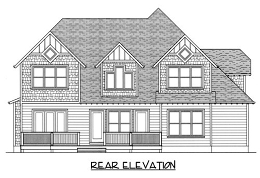 Craftsman House Plan 53723 with 4 Beds , 4 Baths , 2 Car Garage Rear Elevation