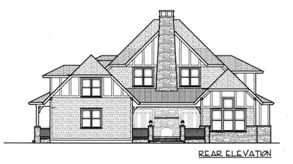 Craftsman Tudor House Plan 53725 Rear Elevation