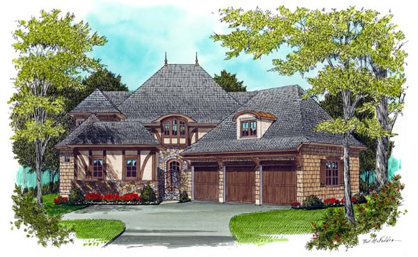 European Tudor House Plan 53726 Elevation