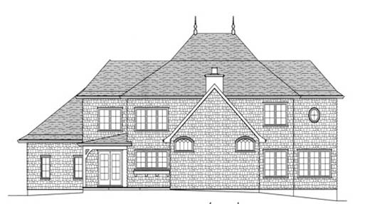 European Tudor House Plan 53726 Rear Elevation