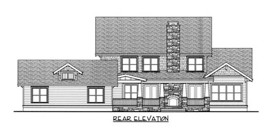 Bungalow Craftsman House Plan 53728 Rear Elevation