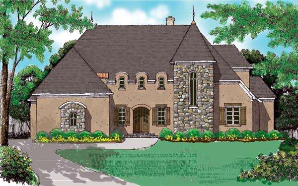 European House Plan 53730 with 4 Beds, 4 Baths, 3 Car Garage Elevation