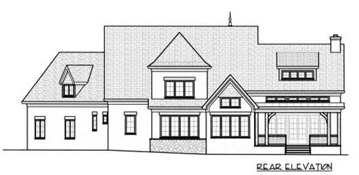 European House Plan 53732 Rear Elevation