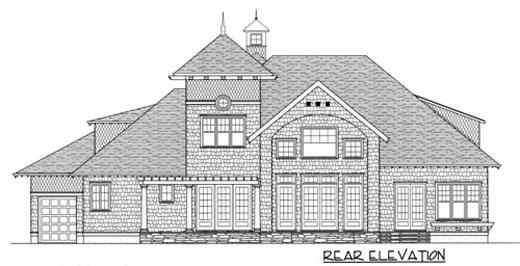 European House Plan 53736 Rear Elevation