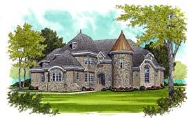 European House Plan 53737 with 4 Beds, 5 Baths, 3 Car Garage Elevation