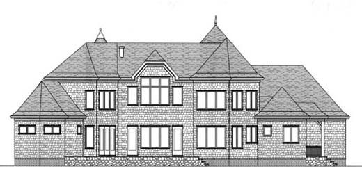 European House Plan 53737 Rear Elevation