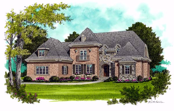 European , Country House Plan 53738 with 4 Beds, 4 Baths, 3 Car Garage Elevation