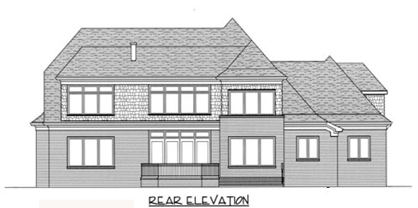 European , Country House Plan 53738 with 4 Beds, 4 Baths, 3 Car Garage Rear Elevation