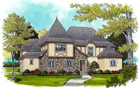House Plan 53740 | European French Country Tudor Style Plan with 4719 Sq Ft, 5 Bedrooms, 4 Bathrooms, 3 Car Garage Elevation