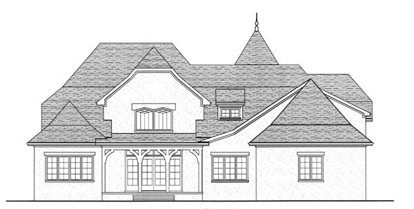 European French Country Tudor House Plan 53740 Rear Elevation