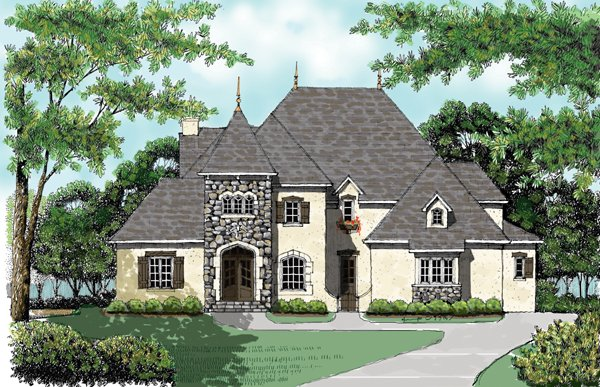 European House Plan 53742 with 5 Beds, 4 Baths, 3 Car Garage Front Elevation