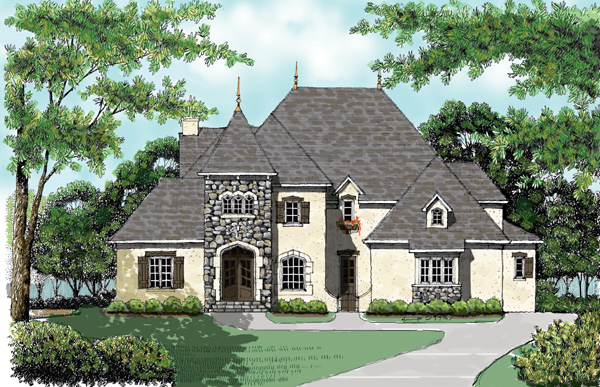 European House Plan 53742 with 5 Beds, 4 Baths, 3 Car Garage Elevation