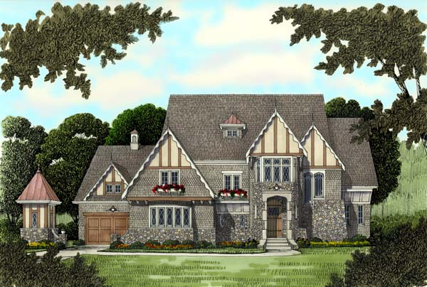 European, Tudor, Victorian House Plan 53743 with 4 Beds , 5 Baths , 3 Car Garage Elevation