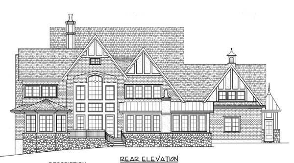 European Tudor Victorian Rear Elevation of Plan 53743
