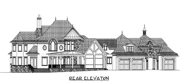 Country European Rear Elevation of Plan 53744