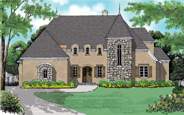 European House Plan 53745 with 4 Beds , 4 Baths , 3 Car Garage Elevation